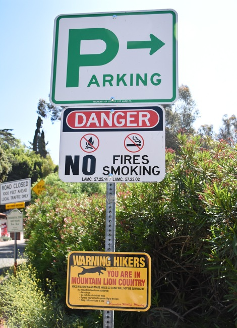 Warning sign near Burbank Peak trailhead