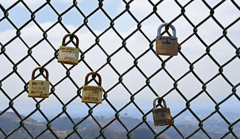 Locks on fence above the Hollywood sign