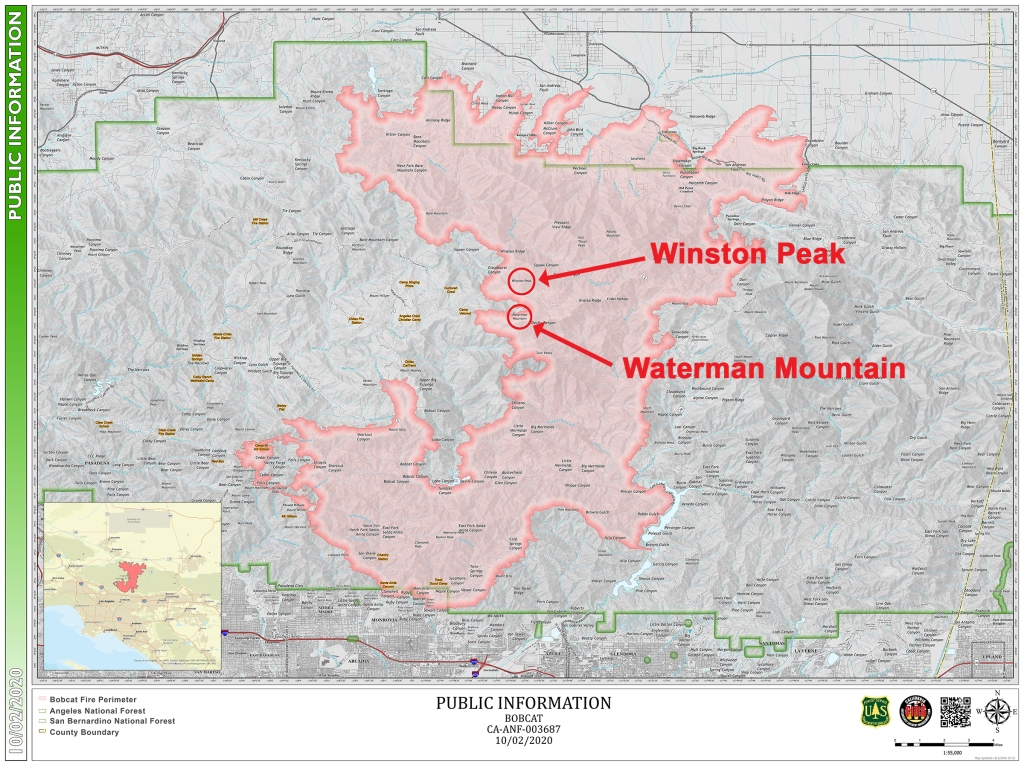 Map of the Bobcat fire from 10/2/20.