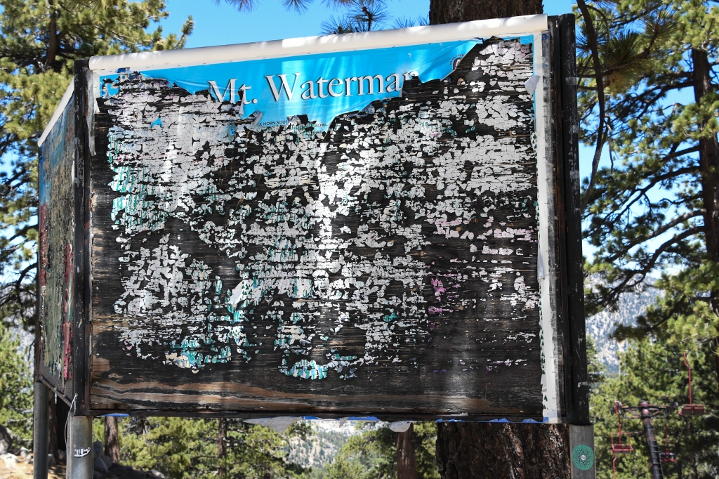 Old trail map sign near the top of Mt. Waterman ski area.